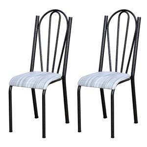 Kit 02 Cadeiras Tubular Cromo Preto 021 Assento Linho