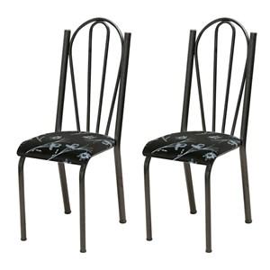 Kit 02 Cadeiras Tubular Cromo Preto 021 Assento Preto Florido