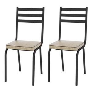 Kit 02 Cadeiras Tubular Preto Fosco 118 Assento Rattan