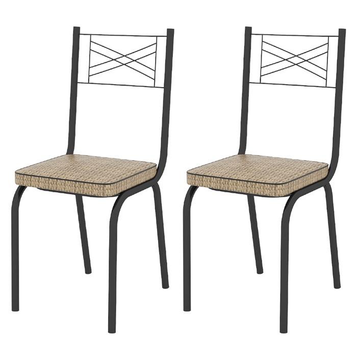 Kit 02 Cadeiras Tubular Preto Fosco 119 Assento Rattan