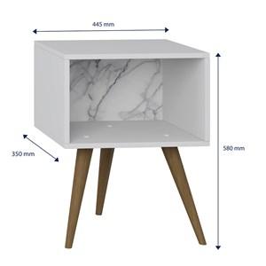 Kit 02 Mesas De Cabeceira Retro 1001 Branco Carrara Be Mobiliario