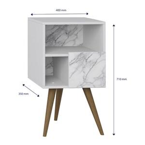 Kit 02 Mesas De Cabeceira Retro 1008 Branco Carrara Be Mobiliario