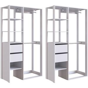 Kit 02 Modulos Para Closet 02 Gavetas DB002 Branco PP Milani Store