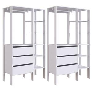 Kit 02 Modulos Para Closet 03 Gavetas DB001 Branco PP Milani Store