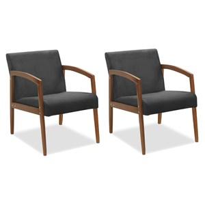 Kit 02 Poltrona Cadeira Escritório Recepção Sabrina Chumbo Deluss