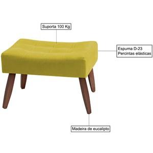 Kit 02 Puffs Decorativos Karol Suede Amarelo Pes Trapezio MR Milani Store
