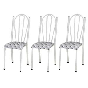Kit 03 Cadeiras Tubular Branca 021 Assento Capitone