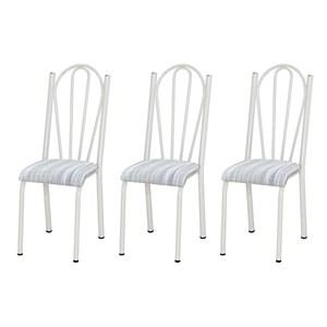 Kit 03 Cadeiras Tubular Branca 021 Assento Linho