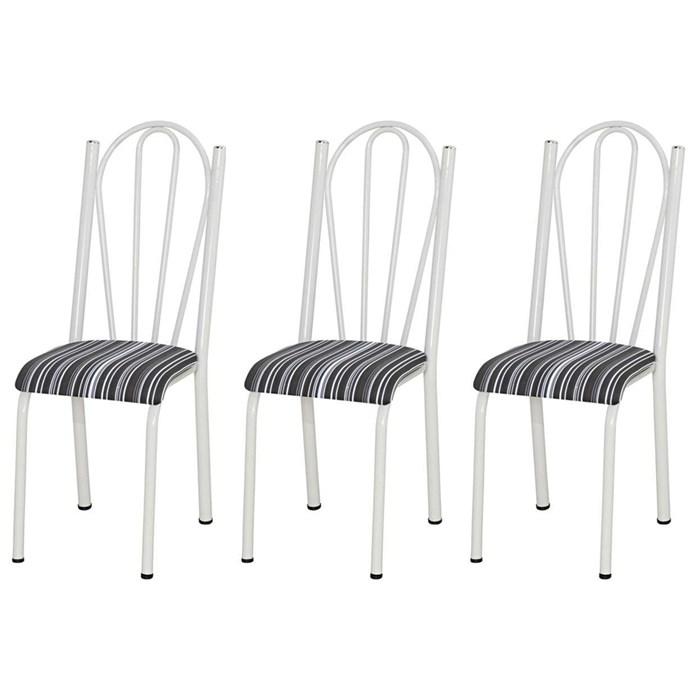 Kit 03 Cadeiras Tubular Branca 021 Assento Preto Listrado