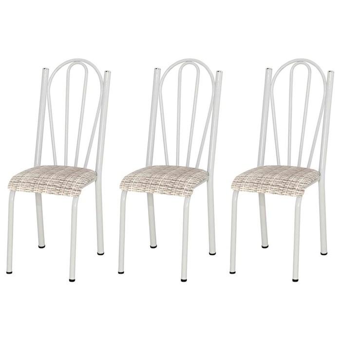 Kit 03 Cadeiras Tubular Branca 021 Assento Rattan