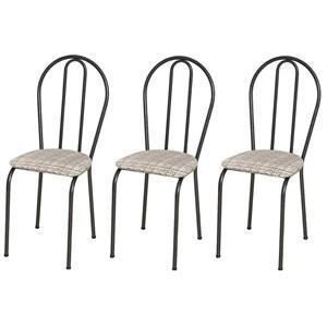 Kit 03 Cadeiras Tubular Cromo Preto 004 Assento Rattan