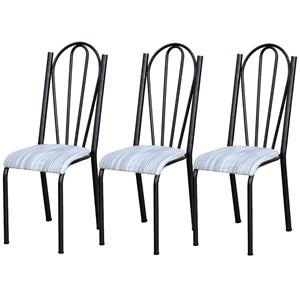 Kit 03 Cadeiras Tubular Cromo Preto 021 Assento Linho