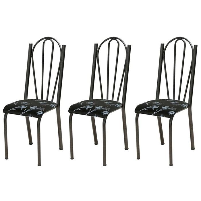 Kit 03 Cadeiras Tubular Cromo Preto 021 Assento Preto Florido