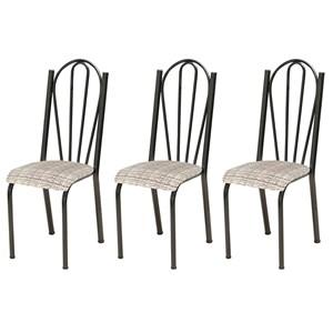 Kit 03 Cadeiras Tubular Cromo Preto 021 Assento Rattan