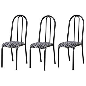 Kit 03 Cadeiras Tubular Cromo Preto 056 Assento Preto Listrado