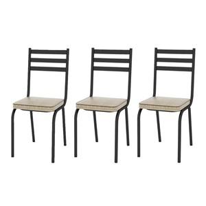 Kit 03 Cadeiras Tubular Preto Fosco 118 Assento Rattan