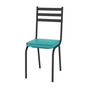 Kit 03 Cadeiras Tubular Preto Fosco 118 Assento Turquesa
