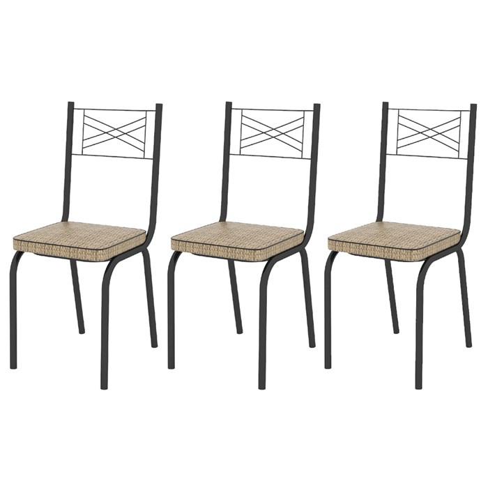 Kit 03 Cadeiras Tubular Preto Fosco 119 Assento Rattan