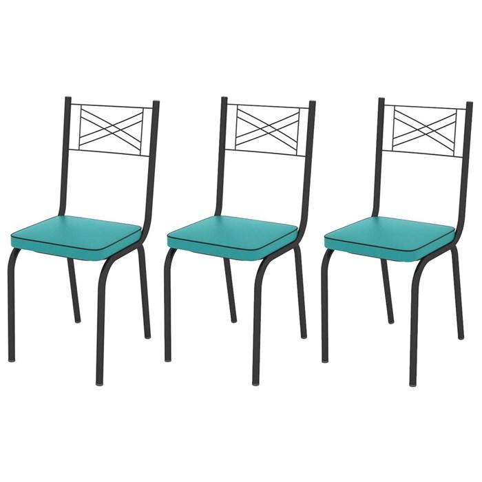 Kit 03 Cadeiras Tubular Preto Fosco 119 Assento Turquesa