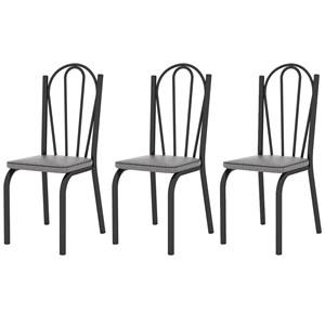 Kit 03 Cadeiras Tubular Preto Fosco 121 Assento Platina