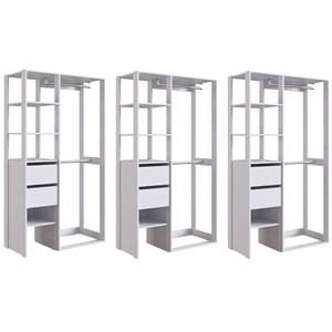 Kit 03 Modulos Para Closet 02 Gavetas DB002 Branco PP Milani Store
