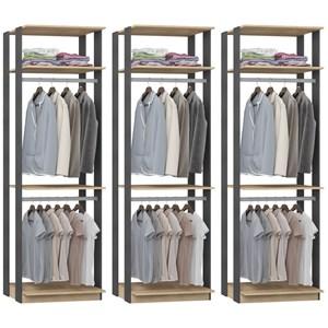 Kit 03 Modulos Para Closet Clothes 1005 Carvalho Mel Espresso Be Mobiliario