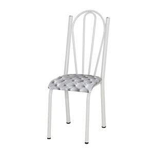 Kit 04 Cadeiras Tubular Branca 021 Assento Capitone