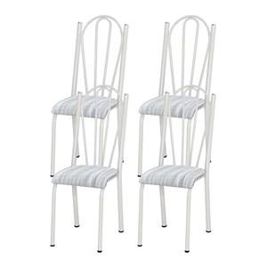 Kit 04 Cadeiras Tubular Branca 021 Assento Linho