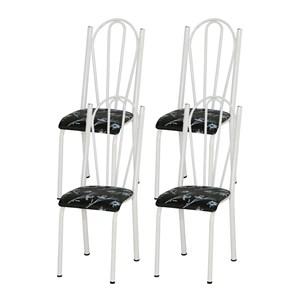 Kit 04 Cadeiras Tubular Branca 021 Assento Preto Florido