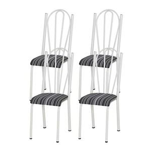 Kit 04 Cadeiras Tubular Branca 021 Assento Preto Listrado