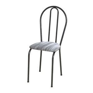 Kit 04 Cadeiras Tubular Cromo Preto 004 Assento Linho
