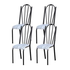 Kit 04 Cadeiras Tubular Cromo Preto 021 Assento Linho