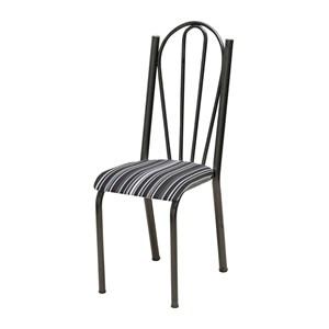 Kit 04 Cadeiras Tubular Cromo Preto 021 Assento Preto Listrado