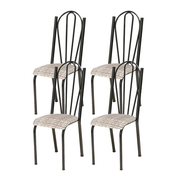 Kit 04 Cadeiras Tubular Cromo Preto 021 Assento Rattan