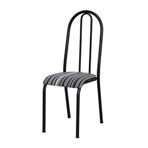 Kit 04 Cadeiras Tubular Cromo Preto 056 Assento Preto Listrado