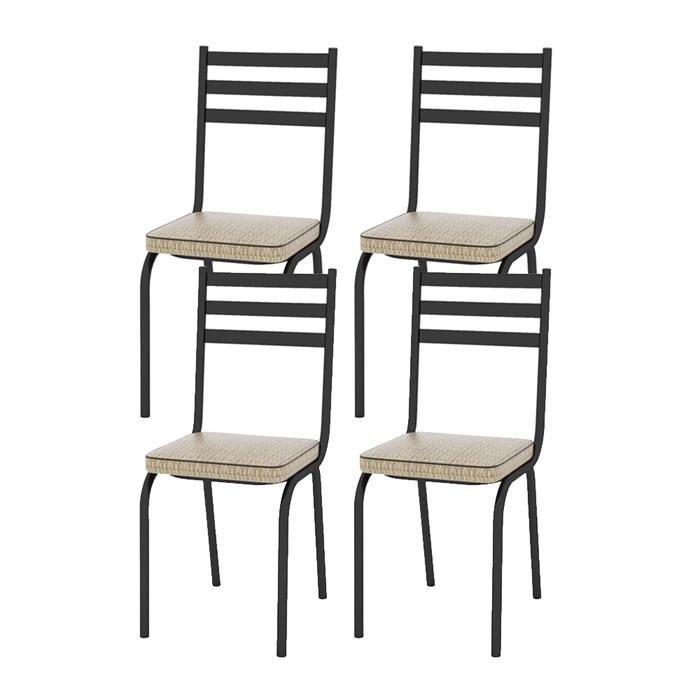 Kit 04 Cadeiras Tubular Preto Fosco 118 Assento Rattan