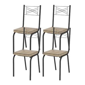Kit 04 Cadeiras Tubular Preto Fosco 119 Assento Rattan