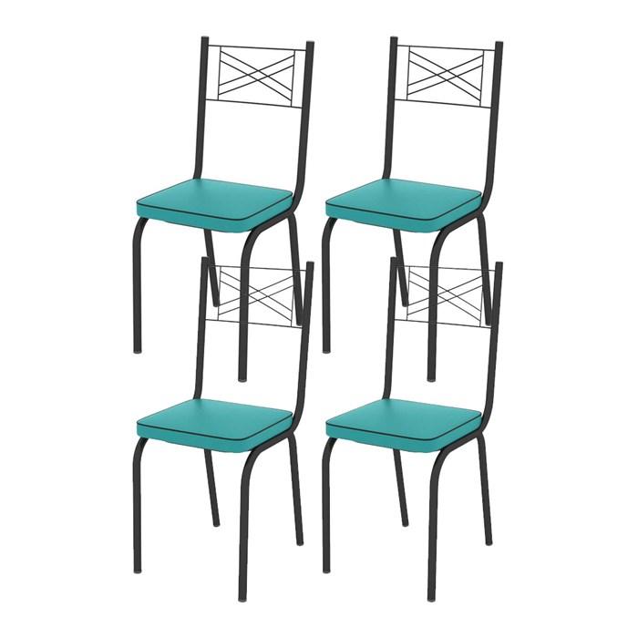 Kit 04 Cadeiras Tubular Preto Fosco 119 Assento Turquesa
