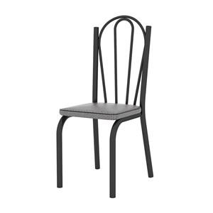 Kit 04 Cadeiras Tubular Preto Fosco 121 Assento Platina