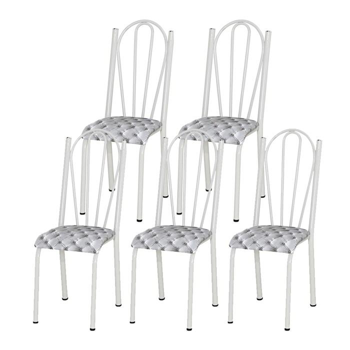 Kit 05 Cadeiras Tubular Branca 021 Assento Capitone