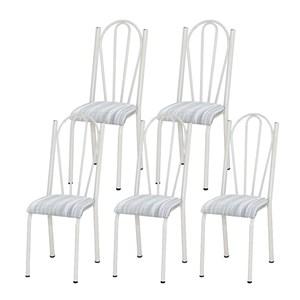Kit 05 Cadeiras Tubular Branca 021 Assento Linho