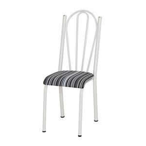 Kit 05 Cadeiras Tubular Branca 021 Assento Preto Listrado