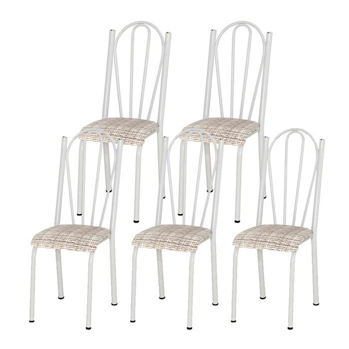 Kit 05 Cadeiras Tubular Branca 021 Assento Rattan