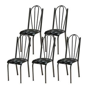 Kit 05 Cadeiras Tubular Cromo Preto 021 Assento Preto Florido