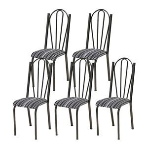 Kit 05 Cadeiras Tubular Cromo Preto 021 Assento Preto Listrado