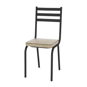 Kit 05 Cadeiras Tubular Preto Fosco 118 Assento Rattan