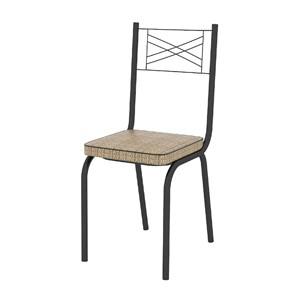 Kit 05 Cadeiras Tubular Preto Fosco 119 Assento Rattan