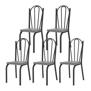 Kit 05 Cadeiras Tubular Preto Fosco 121 Assento Platina