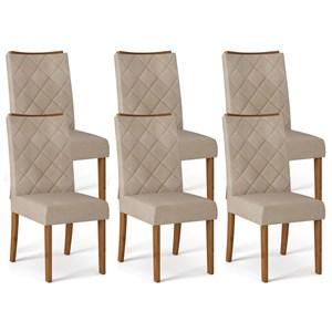 Kit 06 Cadeiras Estofadas Sara Telha Linho Arido DJ Moveis