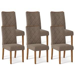 Kit 06 Cadeiras Estofadas Sara Telha Linho Marrom DJ Moveis